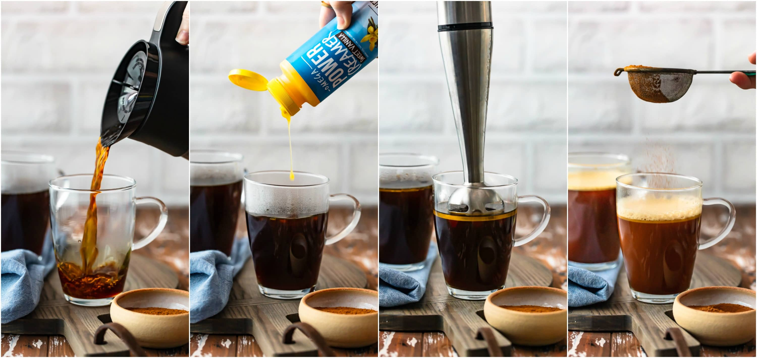 step by step photo collage: preparing vanilla keto coffee recipe
