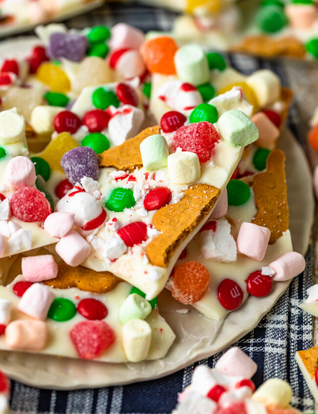 close up view of gingerbread house christmas bark