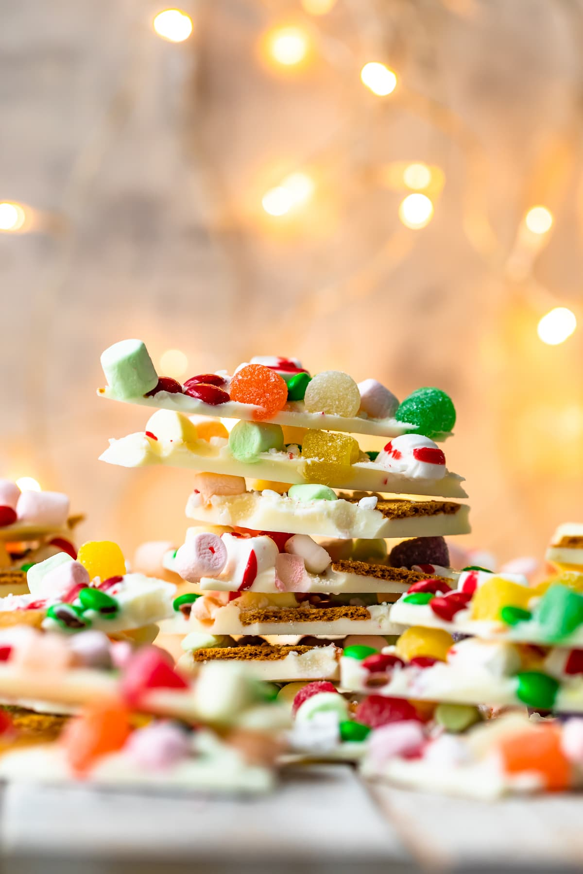 white chocolate bark stacked on a plate