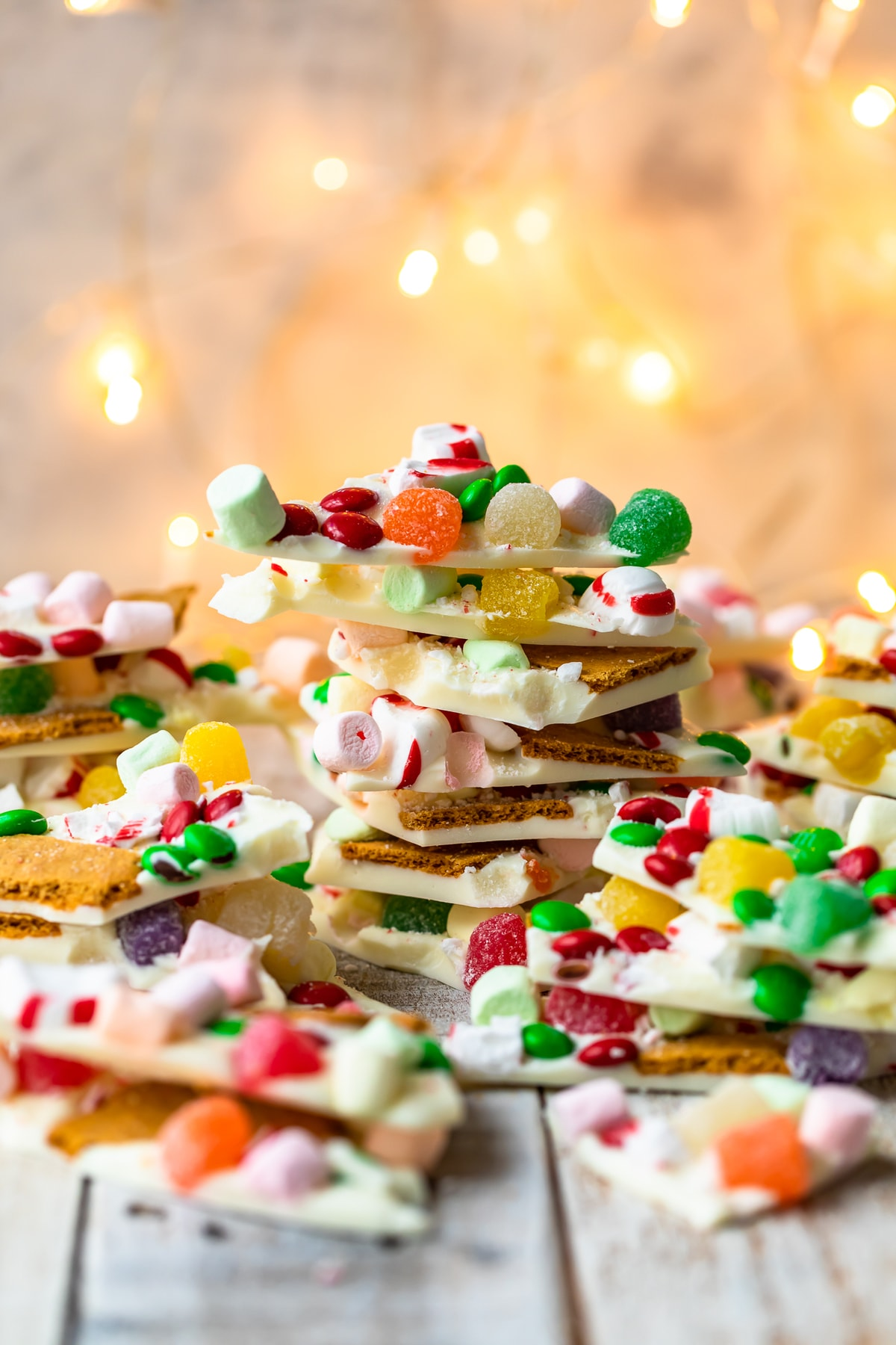 stacked gingerbread house white chocolate bark