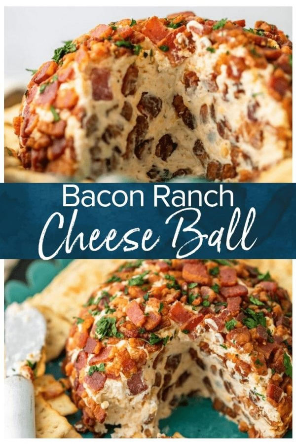This Bacon Ranch Cheese Ball puts a delicious kick on the classic cheese ball recipe we all know and love. Cream cheese, ranch, bacon, and more are combined in this tasty bacon cheese ball recipe for lots of flavor. It's perfect as a Christmas party appetizer, New Year's Eve appetizer, or for game day!