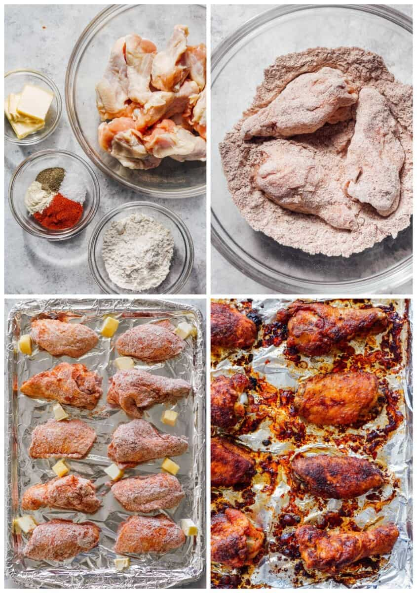 step by step photos for how to make baked chicken wings