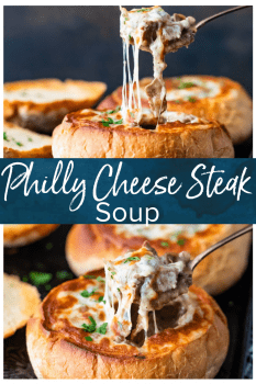 Philly Cheese Steak Soup is the most delicious soup recipe you'll eat this season. If you like cheesesteak sandwiches, then you'll love this bread bowl soup recipe.