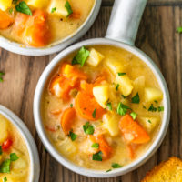 Cheesy Potato Soup is filled with hearty vegetables, potatoes, and lots of cheese! This cheesy potato chowder is a great soup to chow down on during cold winter nights. It's warm, it's easy to make, and it's so delicious. This cheesy potato soup recipe is perfect!