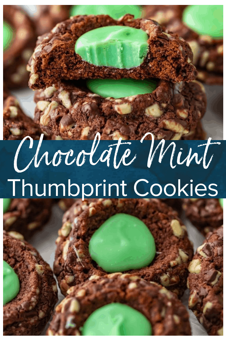 Chocolate Mint Cookies are a fresh and flavorful mint chocolate treat. These Creme de Menthe Thumbprint Cookies are just perfect for winter, and especially Christmas!