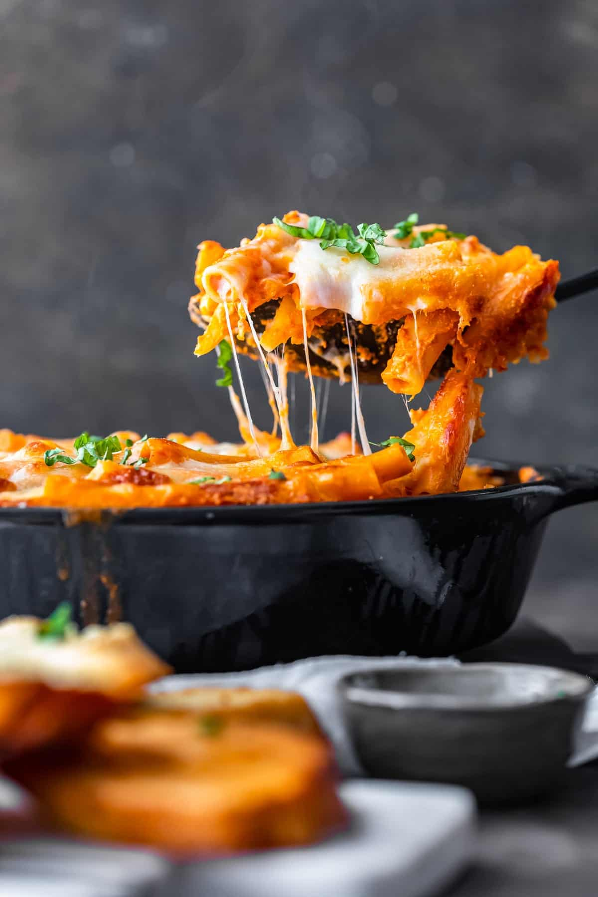 a spoonful of cheesy baked ziti