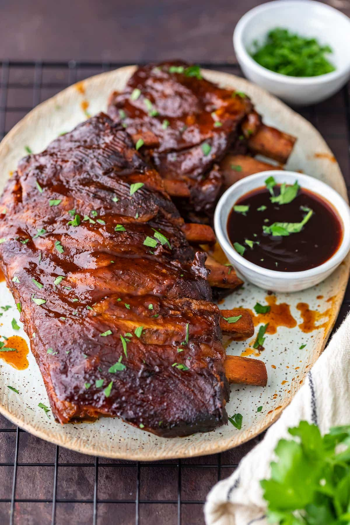 a plate of crock pot bbq ribs