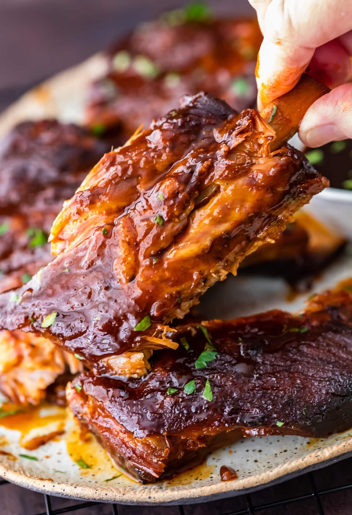 close up on bbq slow cooker ribs
