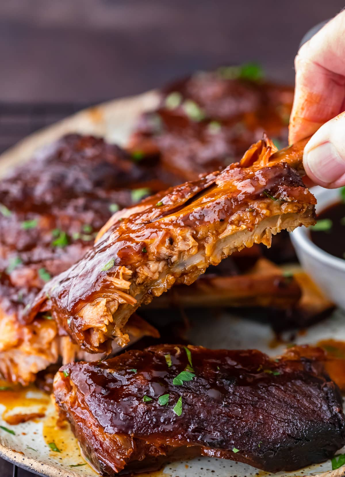 slow cooker ribs on a plate