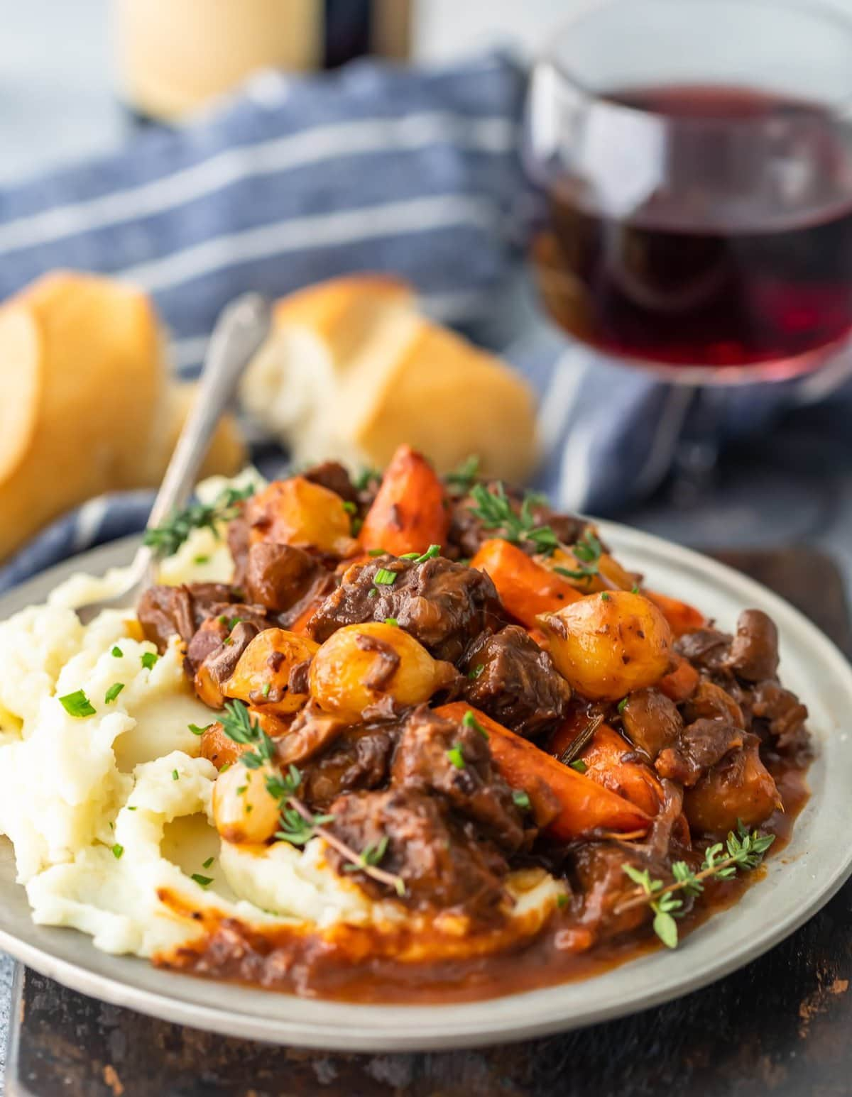 beef bourguignon recipe with carrots and onions
