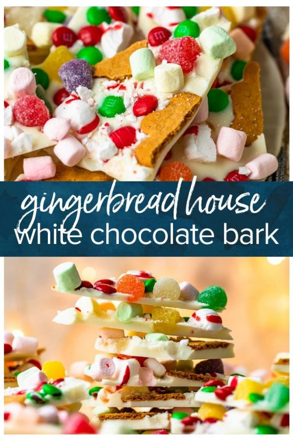 gingerbread house with white chocolate bark pinterest pic