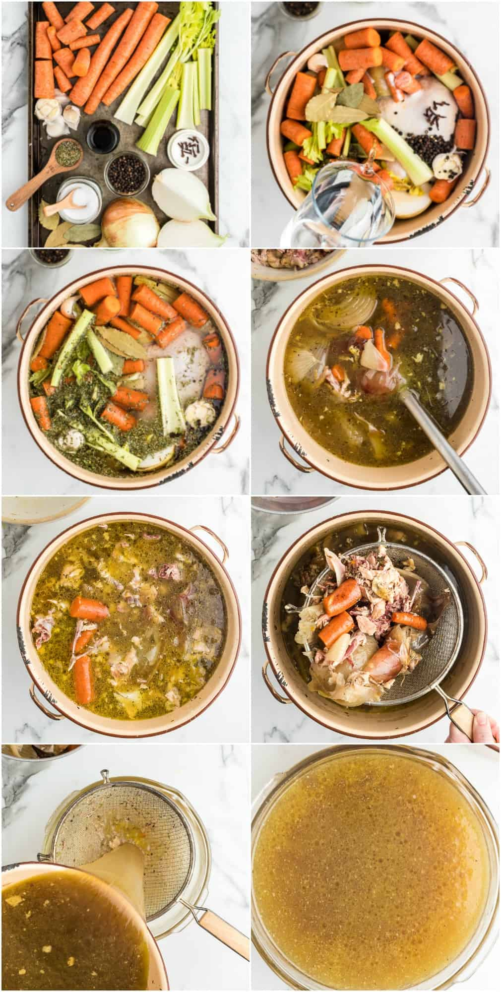 how to make homemade chicken broth step by step photos