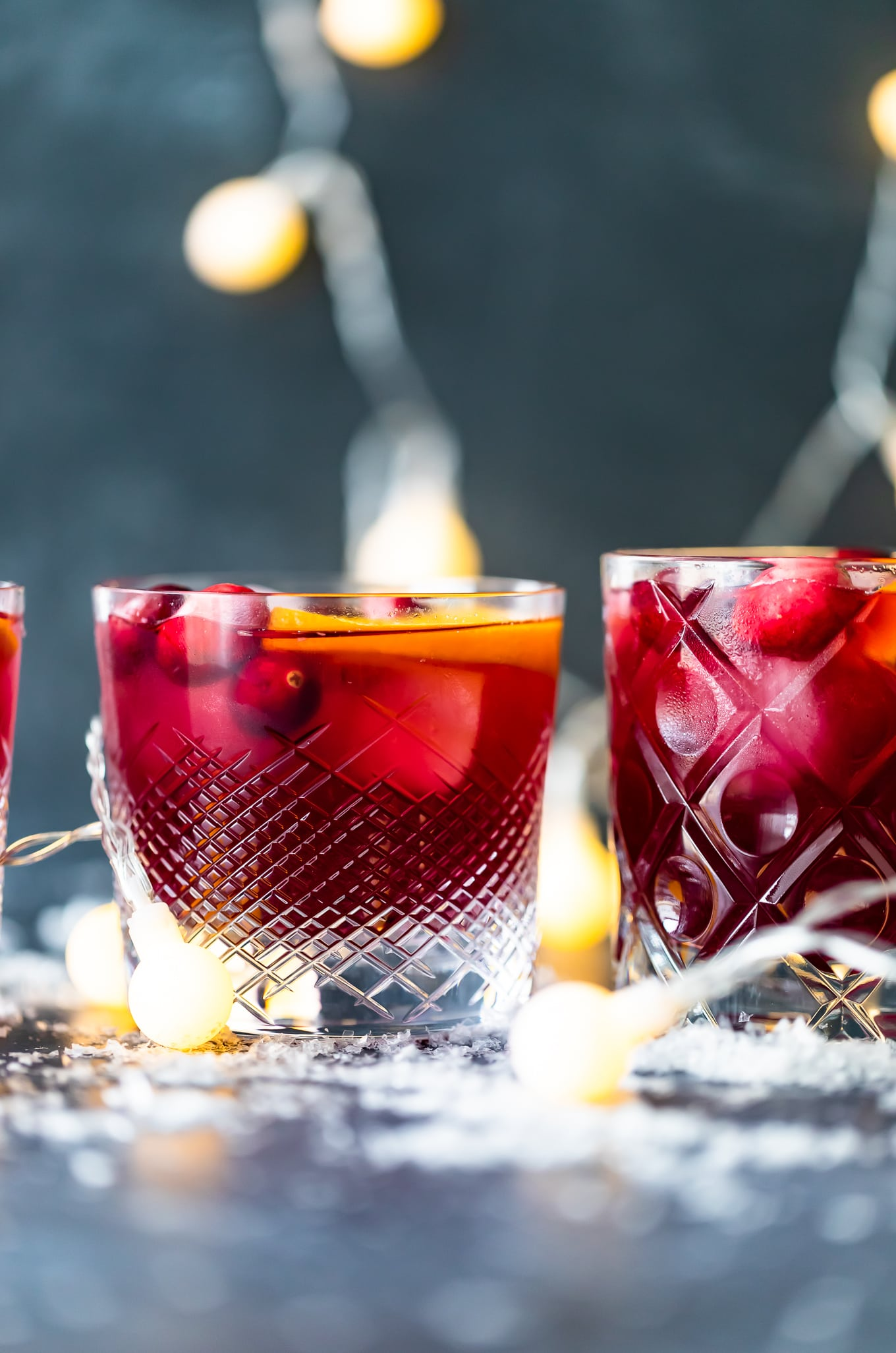 short glasses of Christmas sangria recipe