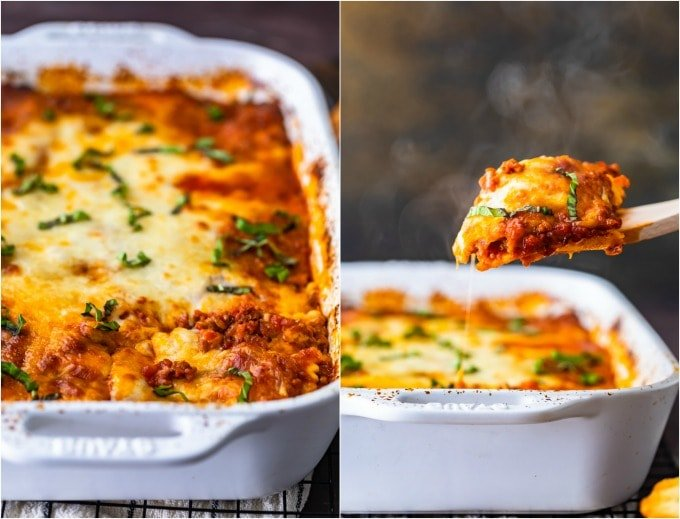 two photos of a ravioli lasagna