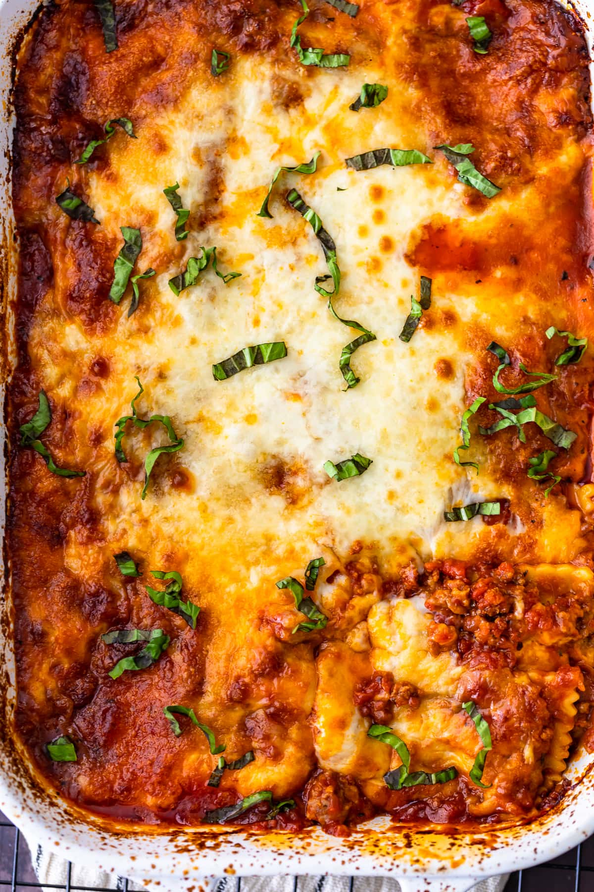 ravioli lasagna topped with cheese