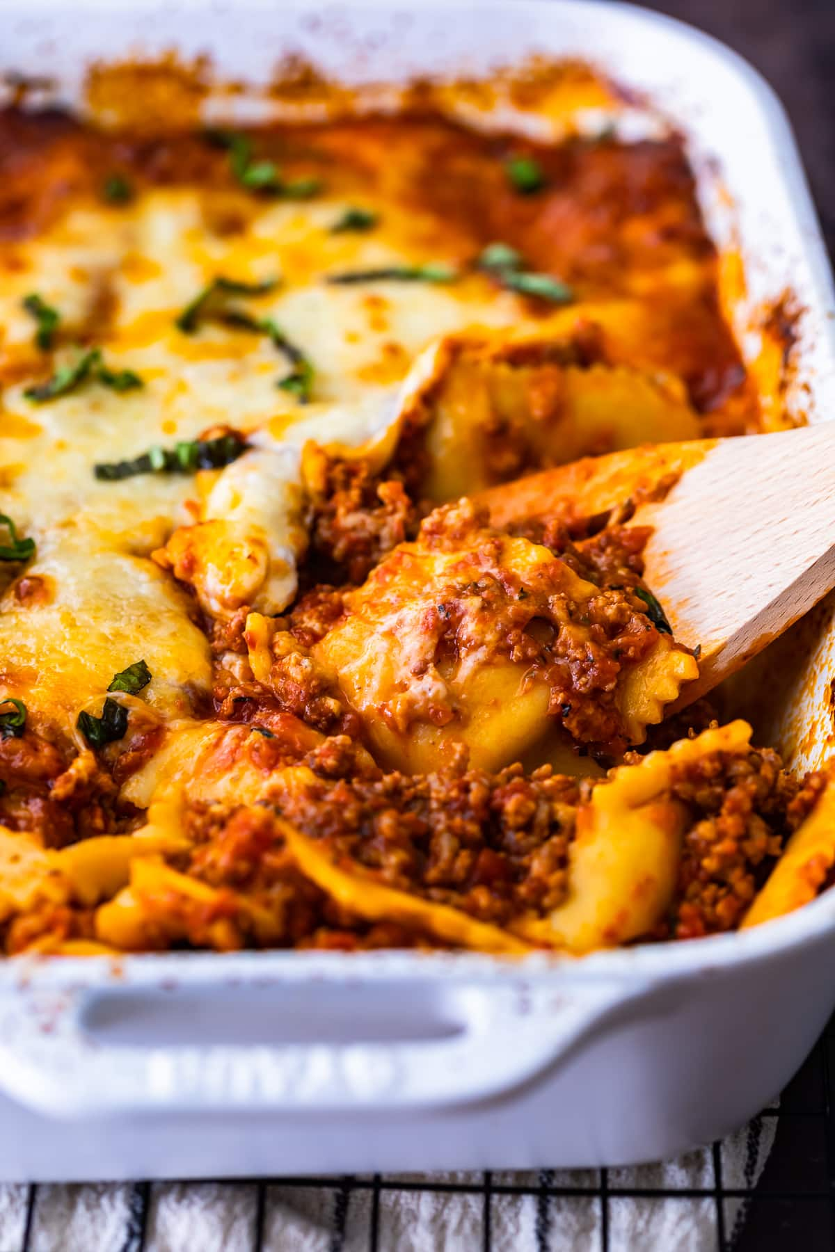 ravioli lasagna bake with sausage and cheese