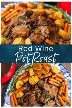 Red Wine Pot Roast is such a traditional meal, but it feels gourmet! This is the best pot roast recipe to make for hearty winter meals, holidays, or special occasions. No one can say no to a juicy pot roast with veggies! Find out how to cook pot roast in the oven for the perfect winter meal