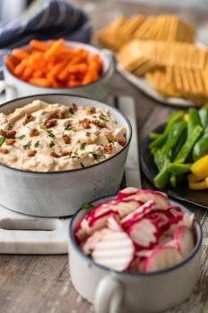 Blue Cheese Dip is the perfect veggie dip for parties, holidays, and game day. This yogurt and cream cheese dip recipe is smoky, cheesy, and full of flavor. You need this cold dip recipe for crackers, veggies, and more. It's easy to make and super tasty!