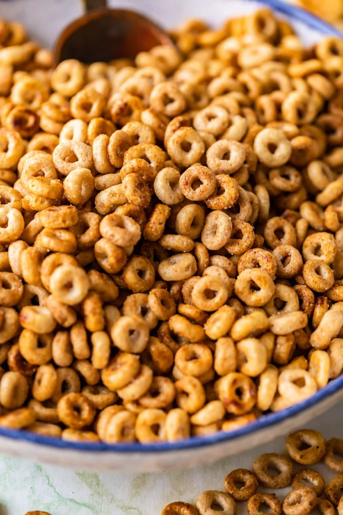 close up on sweet and salty fried cheerios mix