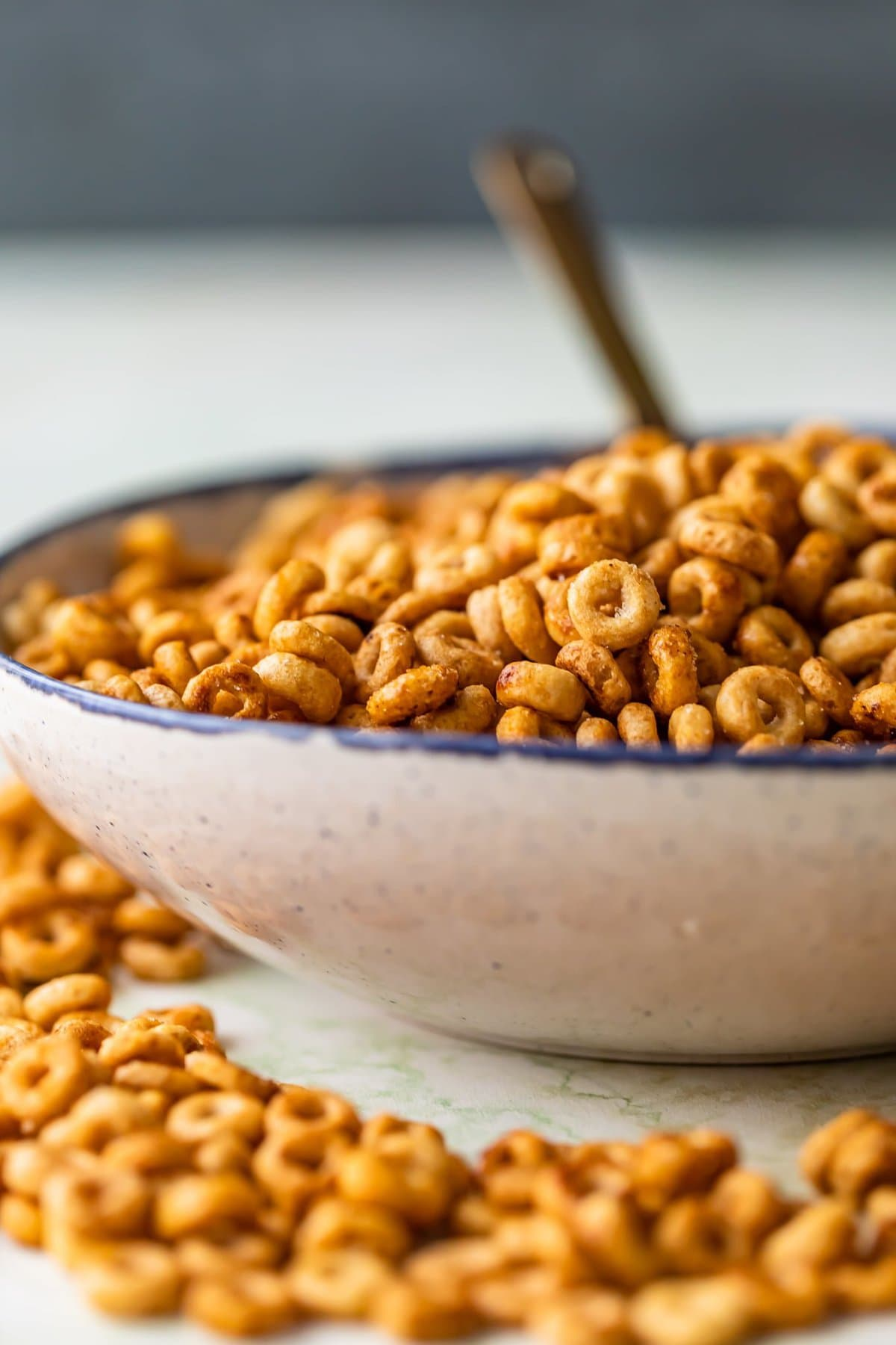 a bowl of cheerios snack mix with
