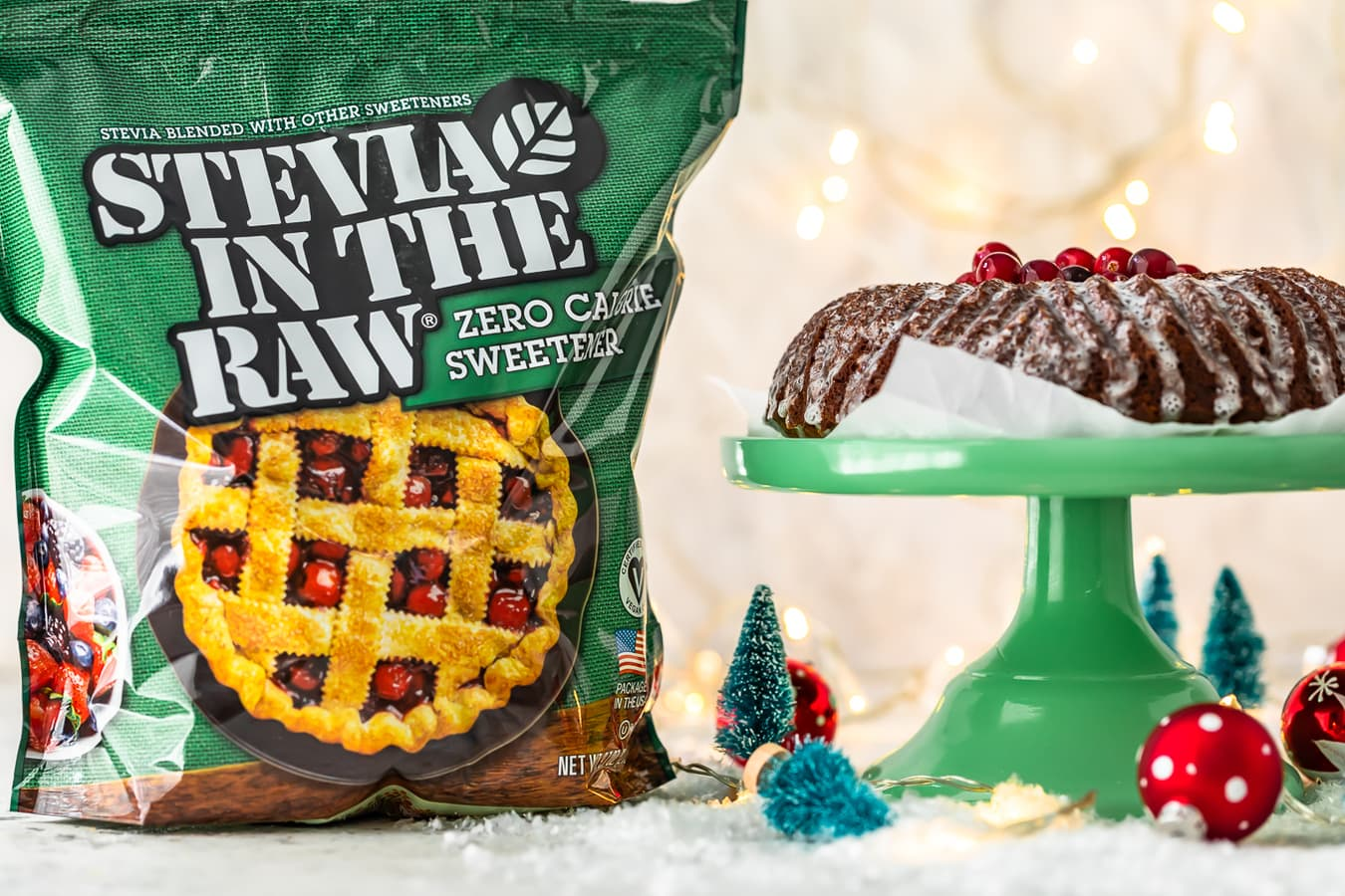 a bag of Stevia in the Raw next to a gingerbread bundt cake