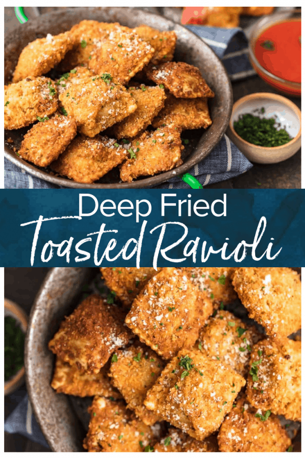 Toasted Ravioli is a classic St. Louis appetizer that deserves worldwide recognition. These deep fried raviolis are crispy, flavorful, and absolutely addicting! This easy fried ravioli recipe is perfect for parties, pre-dinner apps. or pretty much any occasion.