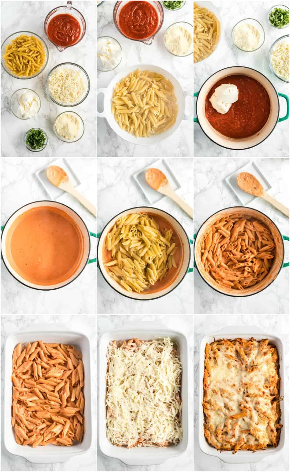 how to make baked ziti process shots