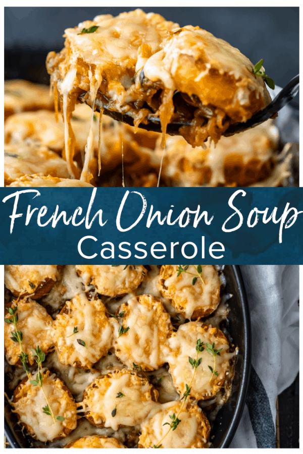 French Onion Soup Casserole is the perfect combination of a classic soup and an easy casserole recipe. This delicious French Onion Casserole is filled with caramelized onions, crunchy baguettes, and plenty of cheese. It tastes just like the soup, but in an easy to make weeknight dinner! I love this easy French Onion Soup Casserole!
