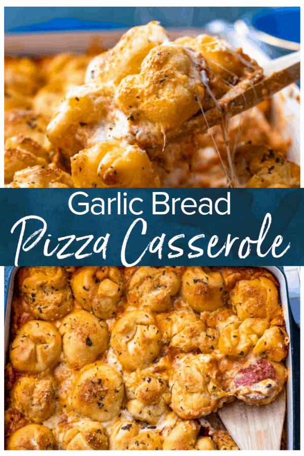 Pizza Casserole is the perfect cheese-filled dish to serve for a fun dinner! This pepperoni pizza casserole recipe is made with layers of cheese, sauce, and pepperonis, then topped with balls of pizza dough and brushed with garlic butter. You're left with a DELICIOUS garlic bread pizza bake that everyone will love!