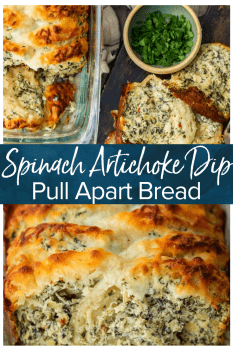 Spinach Artichoke Dip Pull Apart Bread is the perfect way to get that delicious spinach artichoke flavor in the form of an easy bread. Make it as an appetizer or a tasty side dish to serve with your favorite dinners. This pull apart bread recipe is super simple and super flavorful!
