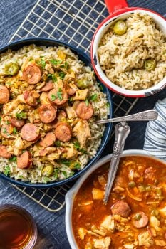 Chicken and Sausage Gumbo is a super flavorful stew served over our okra rice pilaf. This tasty chicken sausage gumbo recipe is filled with onions, celery, bell peppers, chicken, sausage, and the perfect Cajun seasonings. The okra pilau adds in that traditional okra flavor and finishes off the chicken gumbo beautifully!