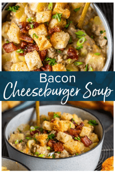 Cheeseburger Soup is a savory, delicious soup with classic all-American flavors. This Bacon Cheeseburger Soup Recipe is filled with everything you'd expect from a good cheeseburger, plus topped with homemade bacon croutons. Easy to make, hard to stop eating! #thecookierookie #cheeseburger #soup #bacon
