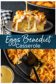 Eggs Benedict Casserole has all the flavor you love from the classic dish, mixed into one super tasty breakfast casserole. This EASY eggs benedict recipe is made with english muffins, filled with ham, and topped off with a simple eggs benedict sauce. This makes the perfect Mother's Day or Easter brunch! #thecookierookie #eggsbenedict #casserole #brunch #breakfast #easter #mothersday #breakfastcasserole
