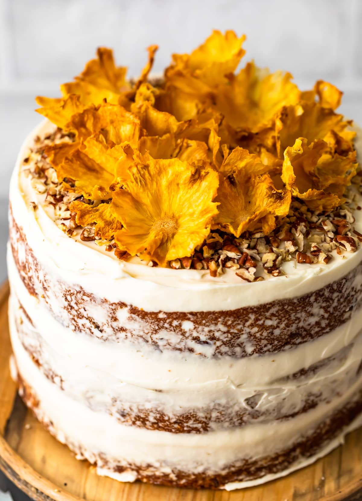 banana pineapple cake with pineapple flowers