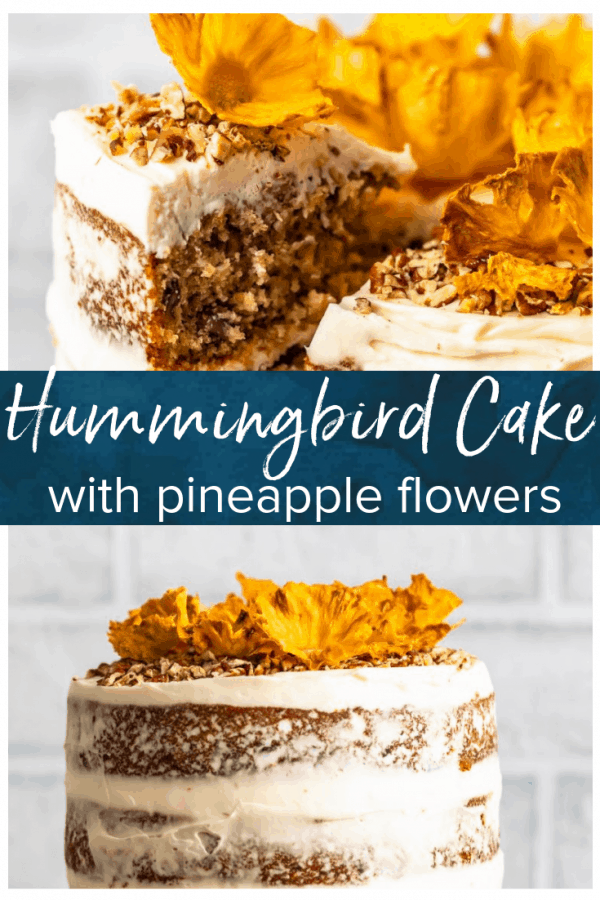 Hummingbird Cake is a sweet and delicious dessert for any occasion. This beautiful banana pineapple cake with cream cheese frosting is a popular Southern cake recipe that everyone should try. Make this Hummingbird Cake recipe (with pineapple flowers) for Easter, bridal showers, and more! #thecookierookie #cakes #dessert #baking #easter #hummingbirdcake #holidayrecipes