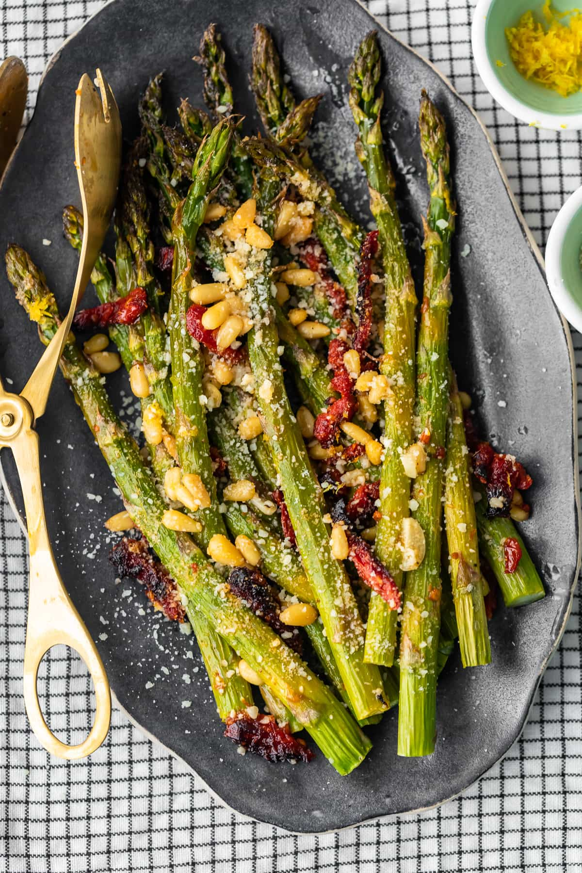 roasted asparagus side dish on a serving platter