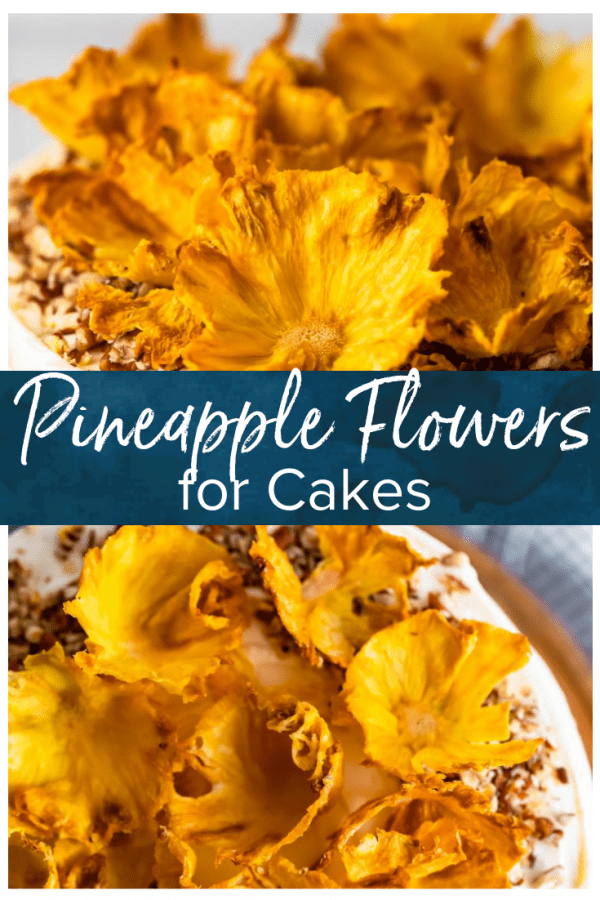 Dried Pineapple Flowers are a surprisingly easy way to make any cake look like it was decorated by a professional! Learn how to make flowers for cake out of pineapple, and every cake will look extra amazing for holidays and special occasions. Plus these dried pineapple slices make a great snack! #thecookierookie #pineapple #driedfruit #cakedecorating #cakes
