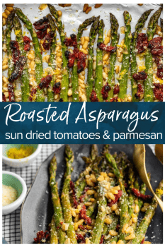 Oven Roasted Asparagus with sun dried tomatoes, pine nuts, garlic, and more is a delicious Mediterranean-inspired side dish fit for any occasion. This easy roasted asparagus recipe is quick to make yet filled with flavor! Add this asparagus side dish to your holiday meals, or just to your weeknight dinners. Either way, it's sure to be a hit! #thecookierookie #asparagus #sidedish #easter #holidayrecipes #vegetables #healthyrecipes