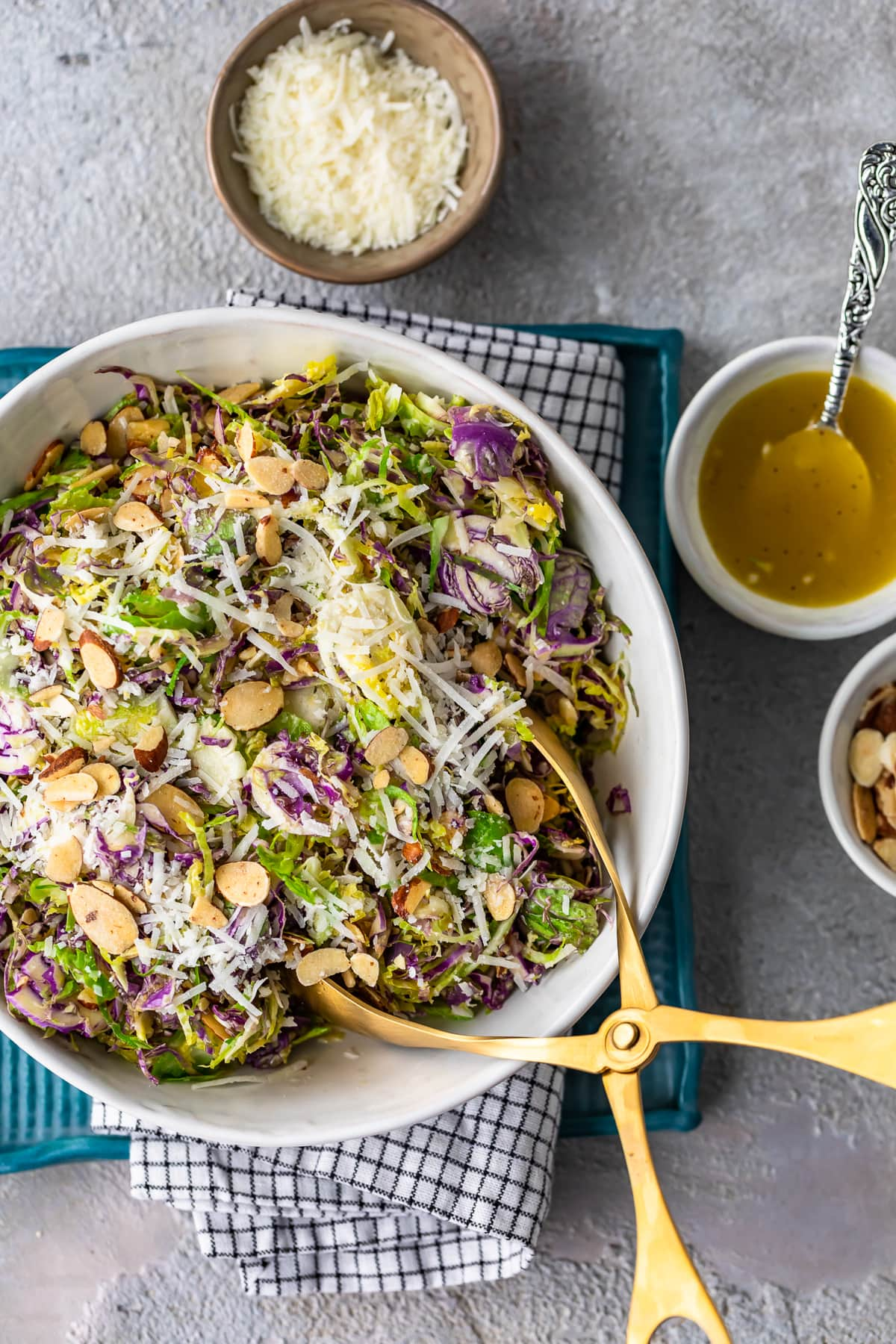 brussels sprouts salad with almonds and cheese