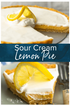 Sour Cream Lemon Pie is perfectly tart and creamy. This easy lemon pie recipe is filled with simple flavors that mix together beautifully. The lemon pie filling, saltine cracker pie crust, and sour cream topping combine to create the most delicious lemon tart for spring time! #thecookierookie #lemon #pie #tart #sourcream #dessert #easter #holidayrecipes