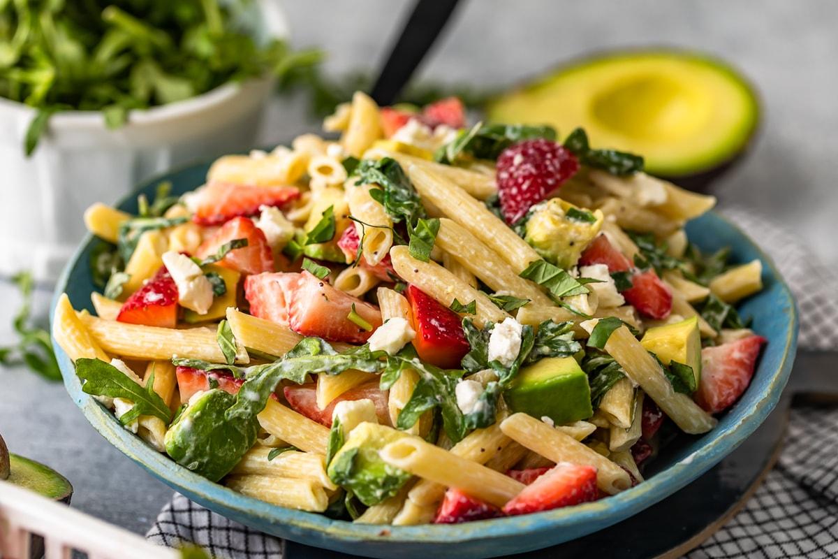 serving bowl of summer pasta salad