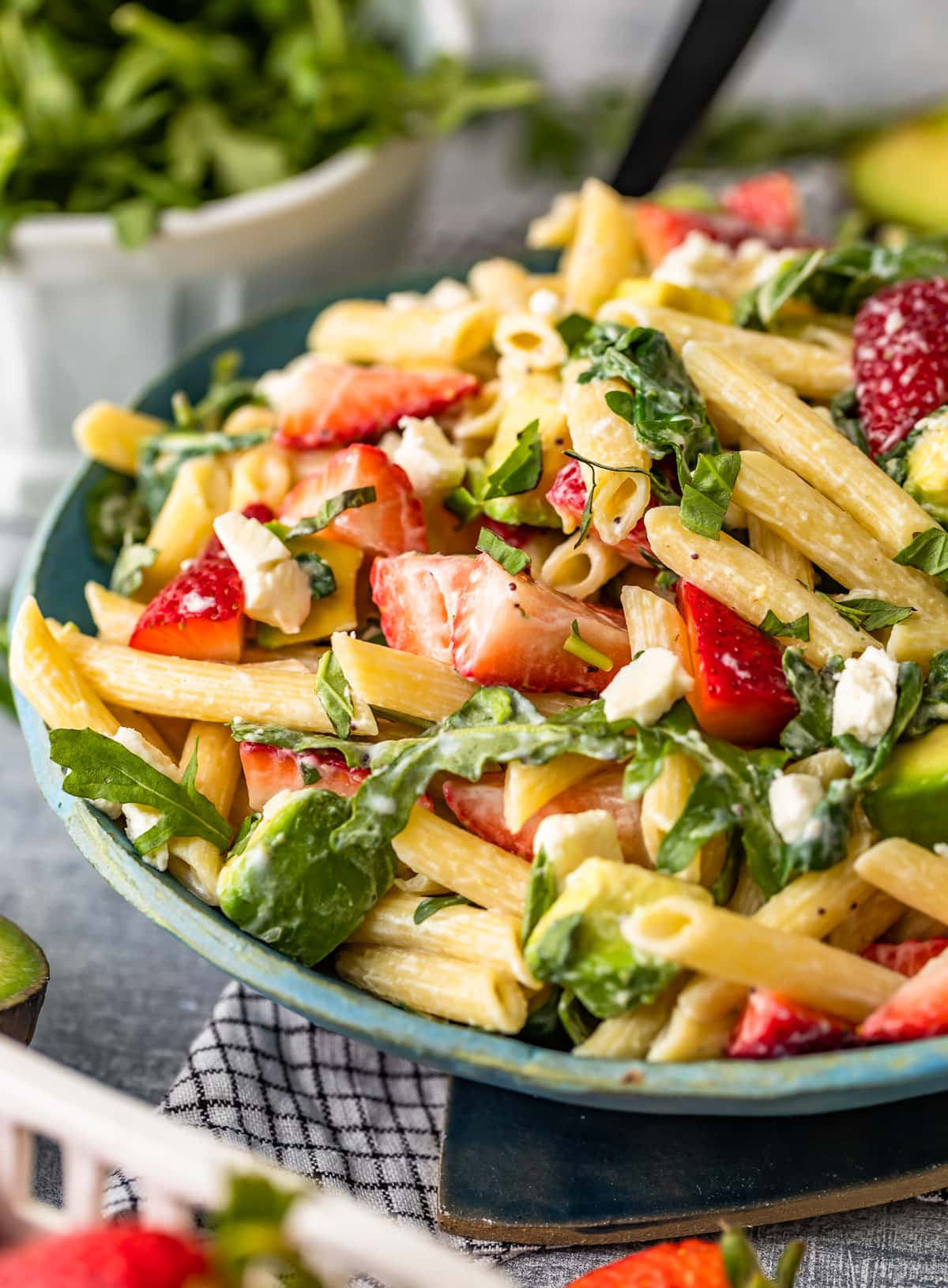 strawberry avocado salad with penne pasta