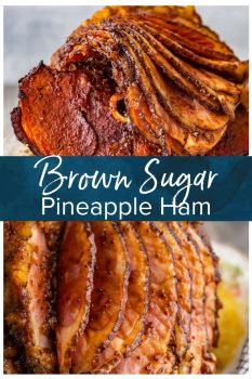 This Brown Sugar Pineapple Ham is the perfect Easter Ham recipe! We made a delicious cola and brown sugar glaze for ham, and combined it with crushed pineapples. This spiral ham is easy to make, and filled with SO much flavor! #thecookierookie #easter #ham #easterdinner #hamrecipes #glazedham #maindish