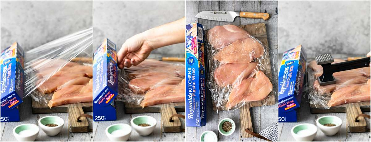 photo collage of chicken breasts in plastic wrap