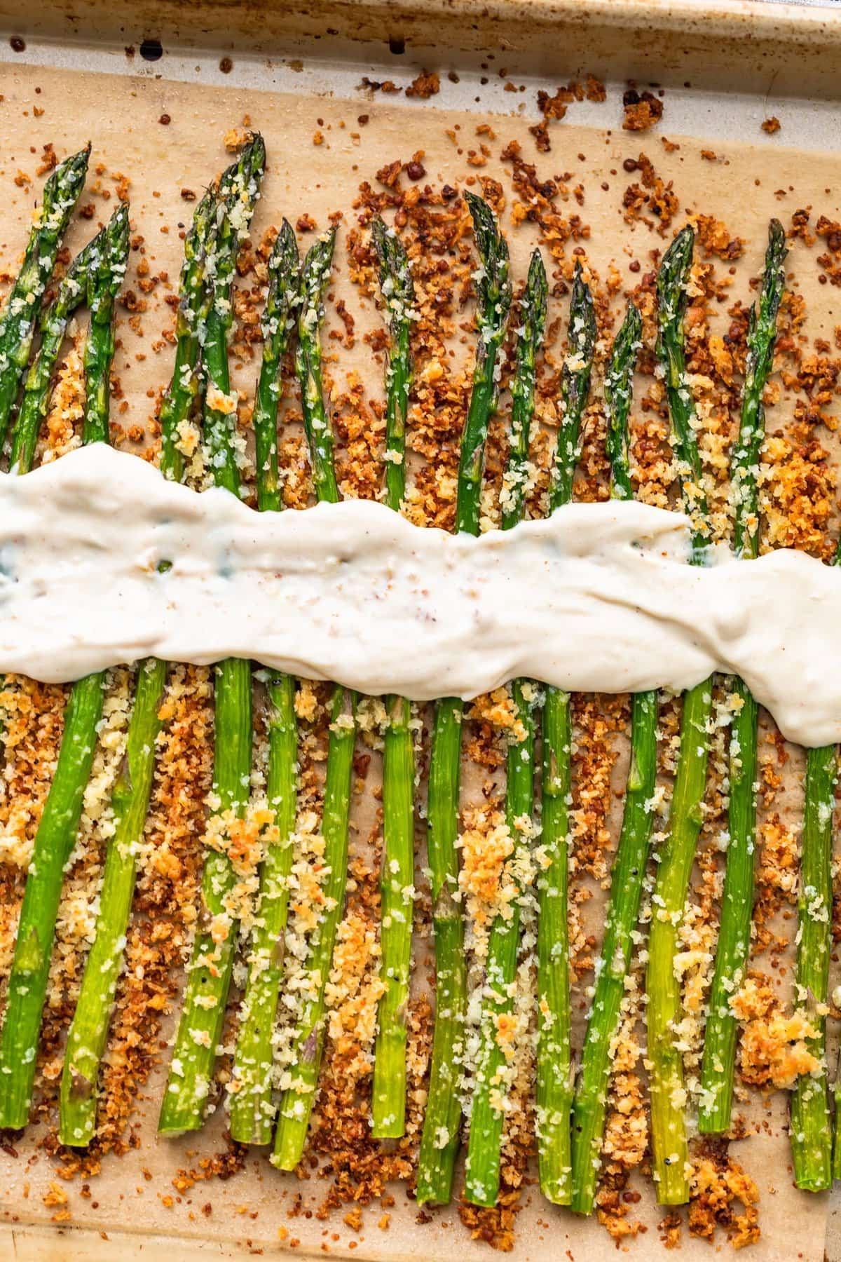 garlic asparagus topped with garlic aioli