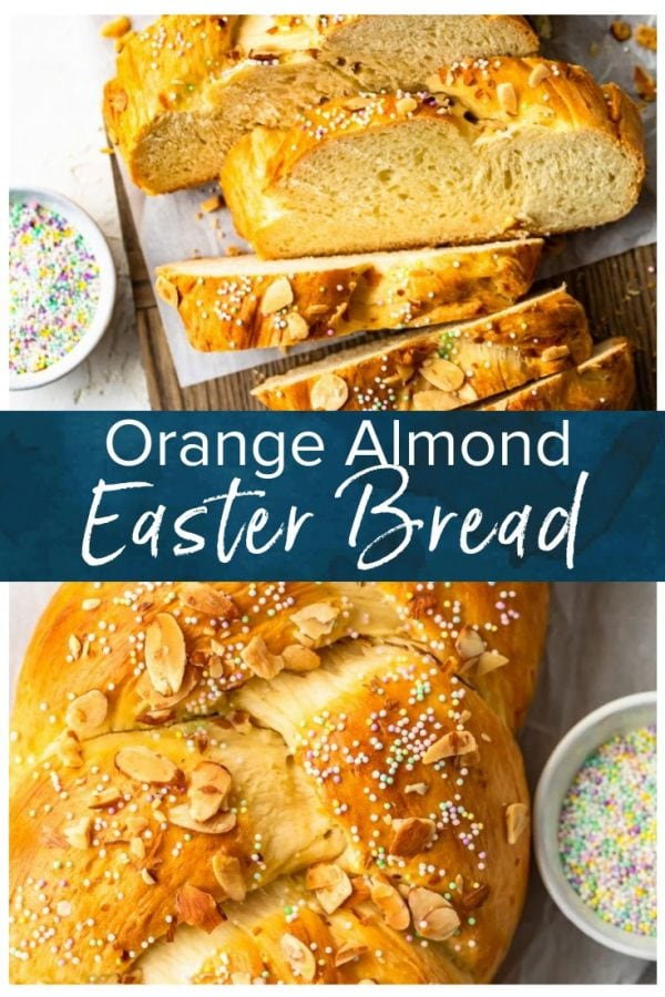 This Easter Bread recipe is so fun and festive! This simple sweet bread recipe is filled with flavor, and topped with sprinkles for a special treat. The Orange Almond flavor is perfect for Easter Sunday! #thecookierookie #bread #easter #holidayrecipes #easterrecipes #homemadebread