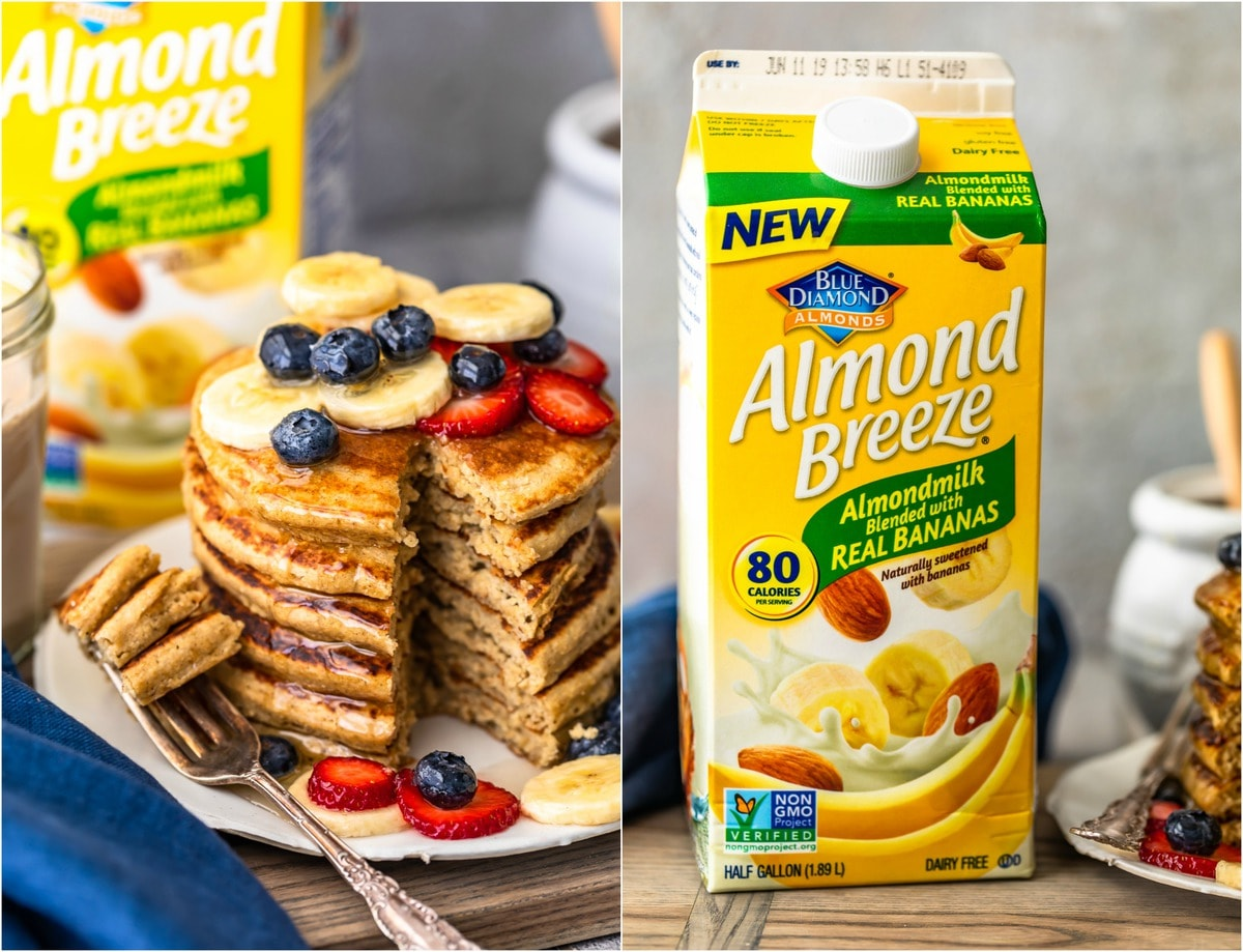 banana pancakes made with almond breeze