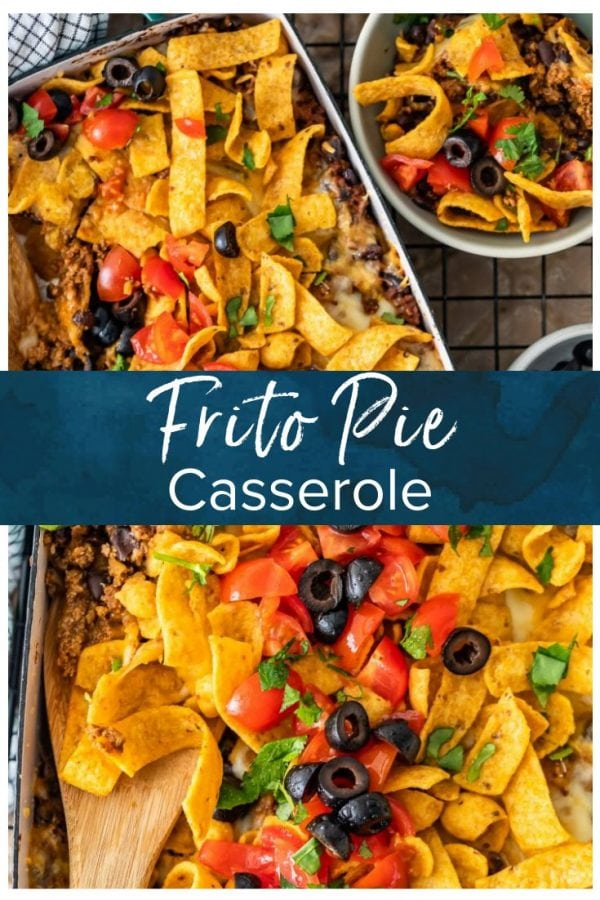 Frito Pie Casserole is an easy recipe with all the best Tex Mex flavors! Layer up the corn chips, beef, cheese, and more in a delicious dish that's perfect for weeknight dinners. Everyone will LOVE this Frito Pie recipe! #thecookierookie #fritopie #texmex #cincodemayo #casseroles