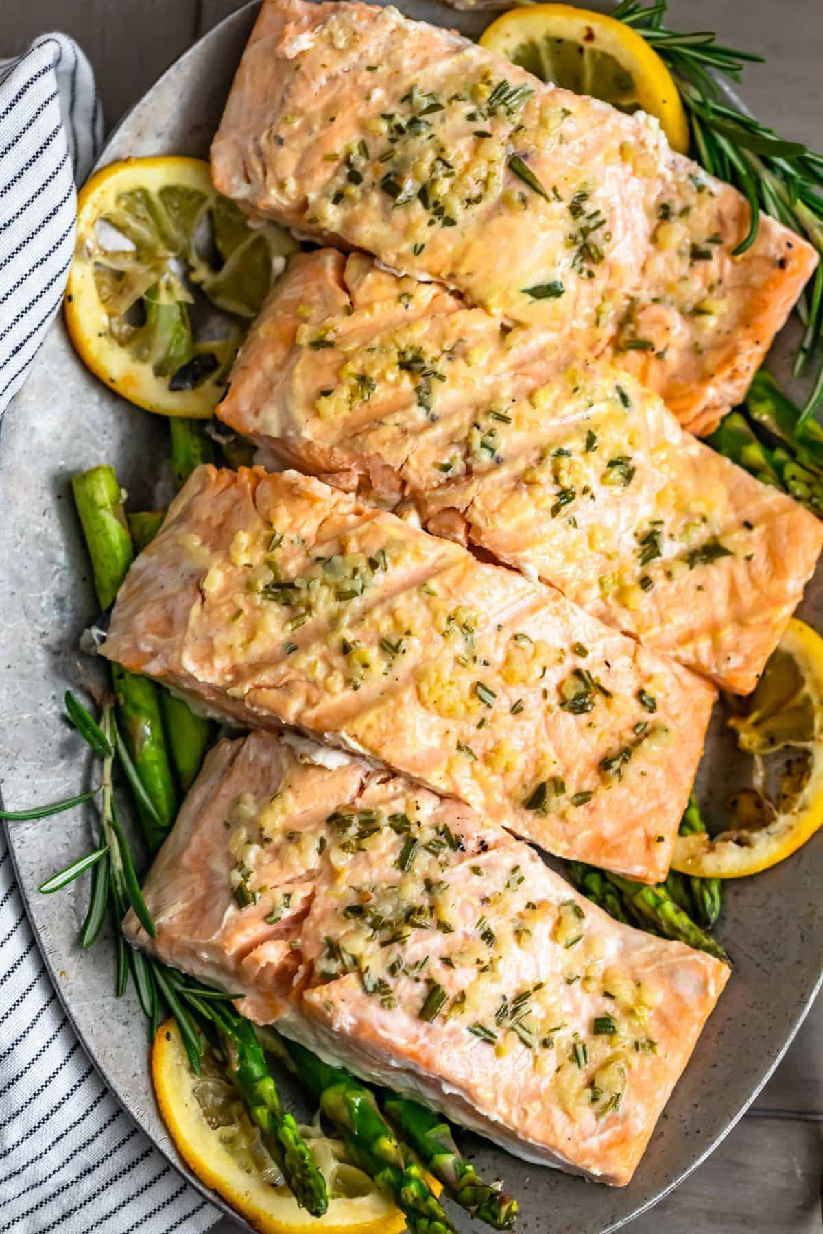 grilled salmon fillets on a serving platter
