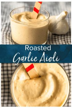 Garlic Aioli is a super flavorful sauce that goes with so many recipes. This creamy Roasted Garlic Aioli recipe is easy, tasty, and slightly addicting. It's one of my favorite dips for fries, and goes perfectly with vegetables, chicken, fish, and more! Let me show you how to make the BEST aioli! #thecookierookie #aioli #garlic #sauce #dippingsauce